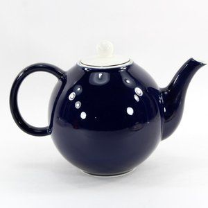 Cobalt Blue and White Ball Shaped Teapot Pagnossin
